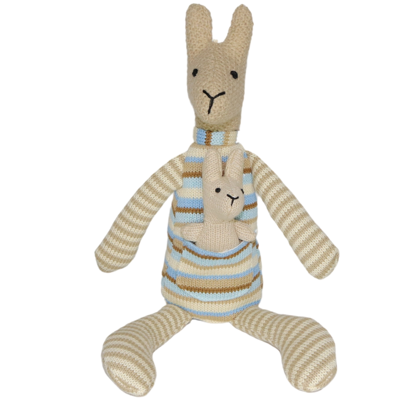 Plush Toy Kangaroo Amp Baby Joey Blue Stripe