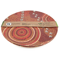 Plate Bamboo Aboriginal Design - Dry Design - Luther Cora (Set of 2)