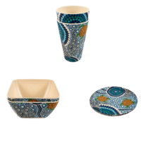 Banabiri - Bamboo Enviroware Dining Set - Colours of the Reef- Colin Jones