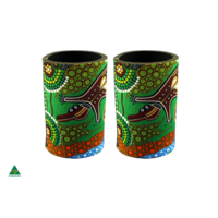 Stubby Cooler X2 Aboriginal Design - Crocodile Dreaming Design - Colin Jones