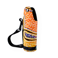 Water Bottle Cooler Aboriginal Design  - Snakes Dreaming Design - Valma Nakamarra White
