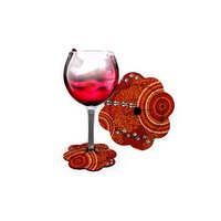 Wine Glass Coaster  Aboriginal Design - Dry - Luther Cora